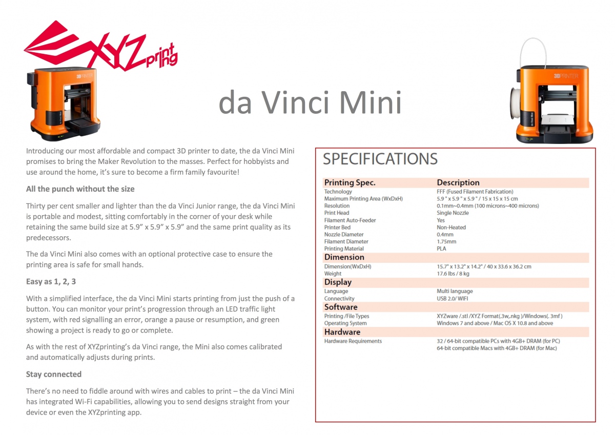 da Vinci Mini W - Specs